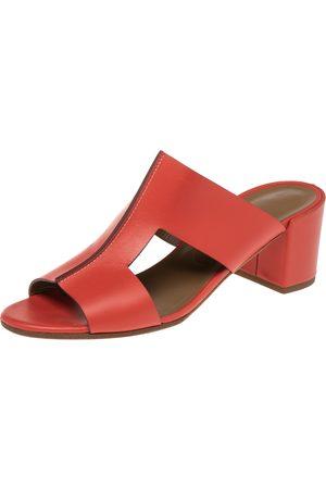 Hermès Leather Ostia Slide Sandals Size 40