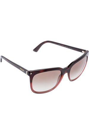Prada Maroon Acetate SPR 12R Gradient Square Sunglasses