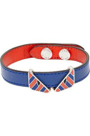 Fendi Bicolor Leather Monster Eye Reversible Wrap Bracelet