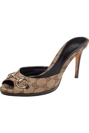 Gucci GG Canvas Horsebit Slide Sandals Size 38.5