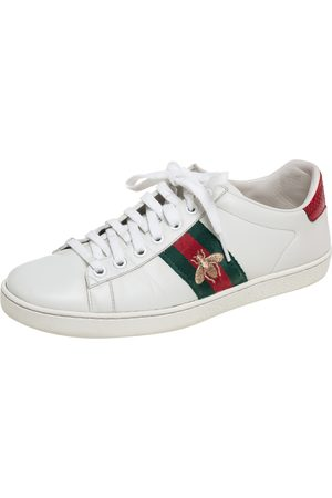 Gucci Leather Embroidered Bee Ace Low-Top Sneakers Size 38