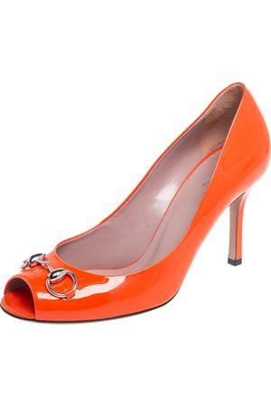 Gucci Patent Leather Horsebit Peep Toe Pumps Size 39