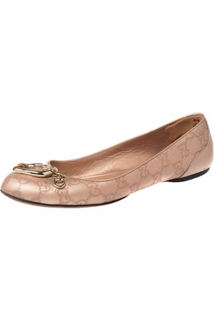 Gucci Metallic Beige ssima Leather Bamboo Heart Ballet Flats Size 39.5