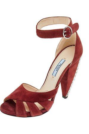 Prada Suede Crystal Heel Ankle Strap Sandals Size 38