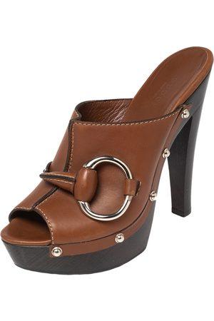 Gucci Leather Horsebit Peep Toe Clog Slide Sandals Size 36.5