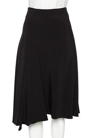 Céline Crepe Pleated Detail Asymmetrical Hem Midi Skirt S