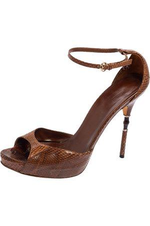 Gucci Python Leather Bamboo Heel Platform Sandals Size 40.5