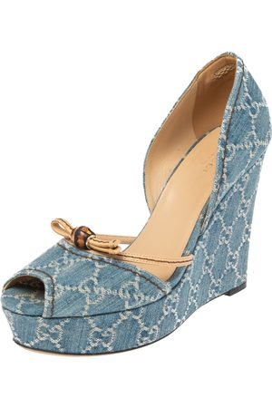 Gucci GG Canvas Bamboo Peep Toe D'orsay Wedge Sandals Size 39