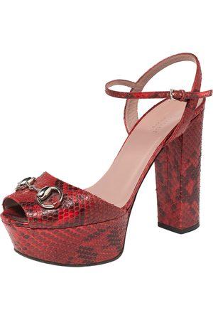 Gucci Women Platform Sandals - Python Leather Horsebit Platform Sandals Size 37.5