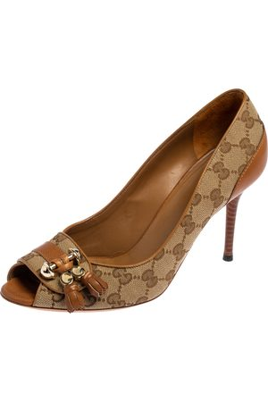 Gucci Tan Leather And GG Canvas Marrakesh Peep Toe Pumps Size 40