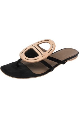 Hermès Leather And Suede Galet Chaine D'Ancre Flat Sandals Size 38