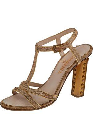 CHANEL Python CC T-Strap Block Heel Sandals Size 37.5