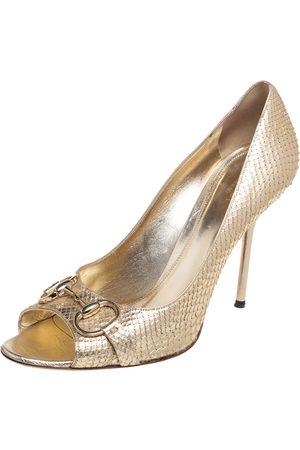 Gucci Python Leather Horsebit Peep Toe Pumps Size 41