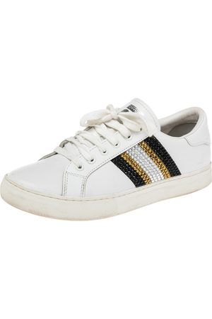 Marc Jacobs Leather Crystal Embellished Lace Up Sneakers Size 39