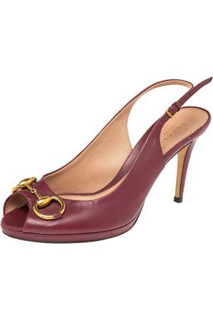 Gucci Burgundy Leather Horsebit Peep Toe Slingback Sandals Size 38.5