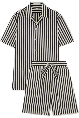 Olivia von Halle Emeli Striped Cotton And Silk-blend Pajama Set