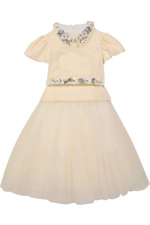 MONNALISA Cotton velvet-panel tulle dress