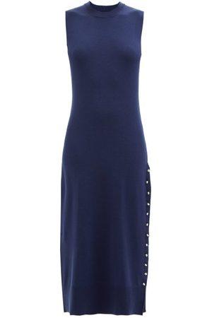 Altuzarra Margot Side-slit Merino Wool-blend Midi Dress - Womens - Dark