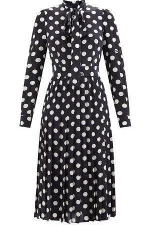 Dolce & Gabbana Polka-dot Print Silk-georgette Midi Dress - Womens