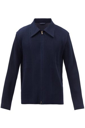 HOMME PLISSÉ ISSEY MIYAKE Zipped Technical-pleated Shirt - Mens - Navy