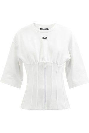 Dolce & Gabbana Logo-patch Cotton-jersey Bustier T-shirt - Womens
