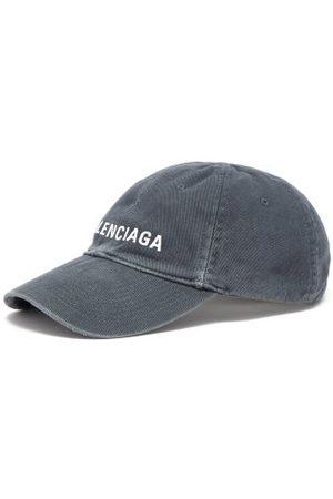 Balenciaga Men Caps - Logo-embroidered Washed-denim Baseball Cap - Mens - Dark Grey
