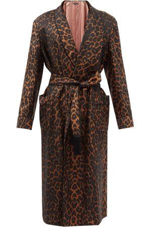 Tom Ford Men Bathrobes - Leopard-print Silk-twill Robe - Mens - Multi