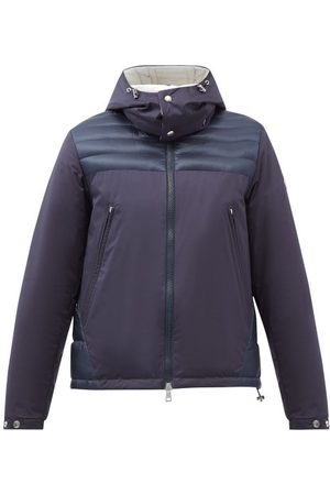Moncler Deferre Hooded Quilted Down Coat - Mens - Dark Navy