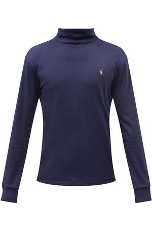 Polo Ralph Lauren Logo-embroidered Roll-neck Cotton T-shirt - Mens - Navy