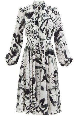 Dolce & Gabbana Women Printed Dresses - Graffiti-print Silk-twill Midi Dress - Womens