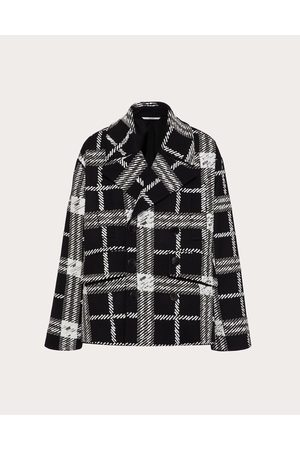 VALENTINO Men Coats - Wool Pea Coat With Embroidered Intarsia Man / 90% Virgin Wool 10% Cashmere 50