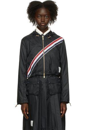 Thom Browne Navy Nylon Ripstop Diagonal Stripe Jacket