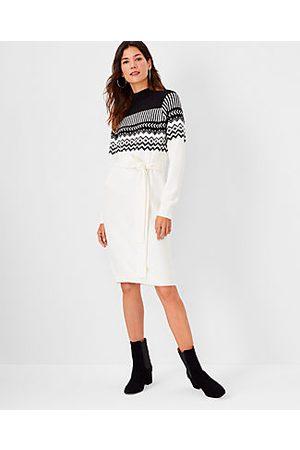 ANN TAYLOR Fair Isle Belted Sweater Dress