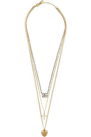 Dolce & Gabbana Men Necklaces - Gold & Silver Mixed Chain Pendant Necklace