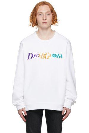 Dolce & Gabbana White & Multicolor Logo Sweatshirt