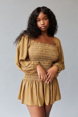 Urban Outfitters UO Francis Smocked Long Sleeve Mini Dress