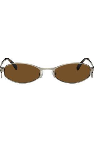 Marine Serre Gunmetal Vuarnet Edition Swirl-Frame Oval Sunglasses