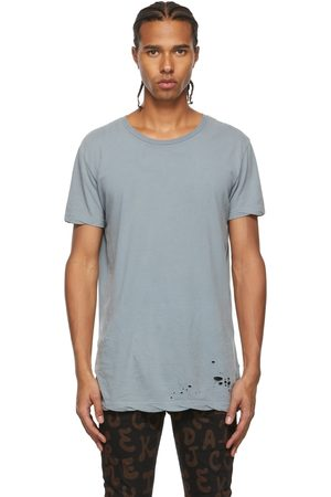 KSUBI Blue Distressed T-Shirt