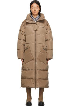 Ganni Women Puffer Jackets - Beige Puffer Coat