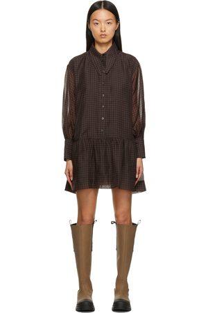 Ganni Women Party Dresses - Black & Brown Organza Mini Dress