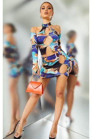 PRETTYLITTLETHING Slinky Cut Out Side Mini Skirt