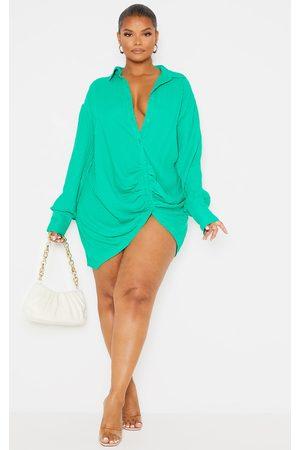 PRETTYLITTLETHING Plus Textured Gathered Detail Long Sleeve Shirt Dress