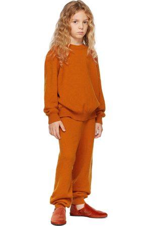 The Row Kids Orange Cashmere Louie Lounge Pants
