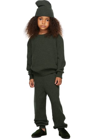 The Row Kids Green Cashmere Louie Lounge Pants