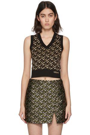 VERSACE Black & Khaki Monogram Jacquard Vest