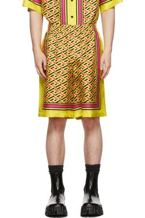 VERSACE Yellow Silk Twill Monogram Shorts