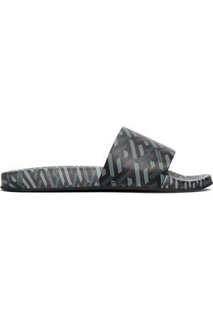 VERSACE Black & Grey La Greca Sandals