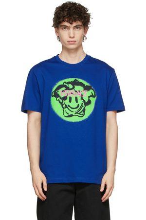 VERSACE Blue Medusa Smile Logo T-Shirt