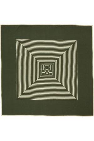 Totême Green Silk Centered Monogram Scarf