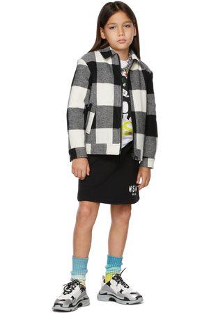 Msgm Kids Black Brush Logo Shorts